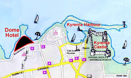 Dome Hotel on Kyrenia Map